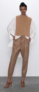 καφέ δερμάτινο παντελόνι casual ντύσιμο